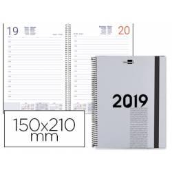 Agenda 2019 Espiral Olbia Dia pagina A5 Gris Liderpapel
