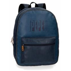 "Mochila para portátil 15,6"" Pepe Jeans de Piel Sintetica Max azul"