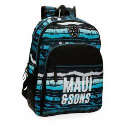 Mochila Escolar Maui 44x33x13,5 cm en Poliester Waves Adaptable a carro