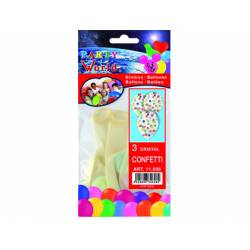 Globos Cristal Confeti marca Party World Bolsa de 3 unidades