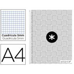 Cuaderno espiral Antartik Din A4 Tapa forrada 100g/m2 color Gris