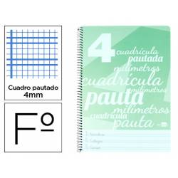 Cuaderno espiral Liderpapel Folio Tapa plastico Pautado Con Margen 80g/m2 Verde