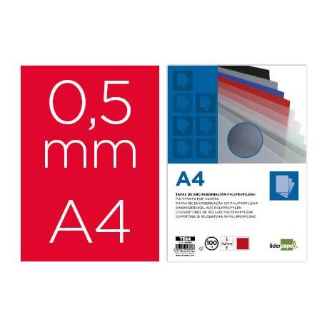Tapa de Encuadernacion Polipropileno Liderpapel DIN A4l Rojo 0,5 mm