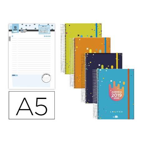 Agenda Escolar 19-20 Dia pagina DIN A5 con Espiral Bilingüe Liderpapel College Date No se puede elegir color