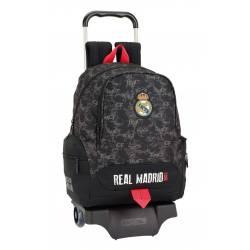Mochila Escolar Real Madrid 43x32x17 cm en Poliester Black Con Ruedas