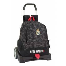Mochila Escolar Real Madrid 44x32x16 cm Poliester Black Evolution Con Ruedas