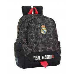 Mochila Escolar Real Madrid 43x32x17 cm en Poliester Black Adaptable a Carro