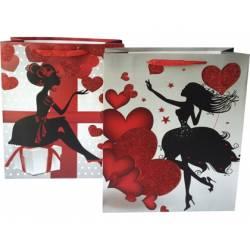 Bolsa para regalo Arguval Pequeña Corazones rojos 2 diseños