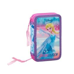 PLUMIER ESCOLAR SAFTA FROZEN ICE MAGIC DOBLE CREMALLERA 28 PIEZAS 125X40X195 MM