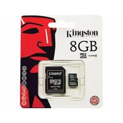 MEMORIA SD MICRO KINGSTON 8 GB CLASE 4 CON ADAPTADOR SDHC