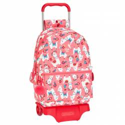 CARTERA ESCOLAR CON CARRO SAFTA GLOWLAB LLAMAS 330X460X140 MM