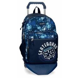Mochila Escolar Movom 46x31x15 Cm en poliester Undergound Azul con ruedas