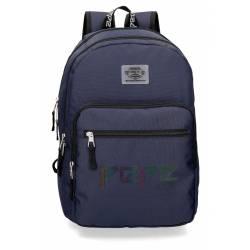 Mochila Escolar Pepe Jeans 46x31x15 Cm en poliester Osset Azul doble compartimento