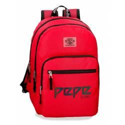 Mochila Escolar Pepe Jeans 46x31x15 Cm en poliester Osset Roja doble compartimento