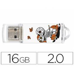 MEMORIA USB TECHONETECH FLASH DRIVE 16 GB 2.0 CALAVERA MOTO