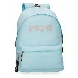 Mochila Escolar Pepe Jeans 42x31x17,5 Cm en poliester Uma azul adaptable a carro