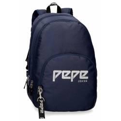Mochila Escolar Pepe Jeans 44x34x16 Cm en poliester Uma azul doble compartimento
