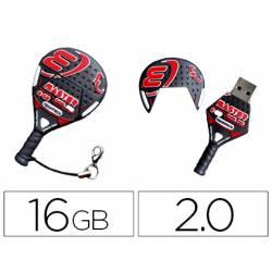 MEMORIA USB TECHONETECH FLASH DRIVE 16 GB 2.0 RAQUETA PADEL ROJA