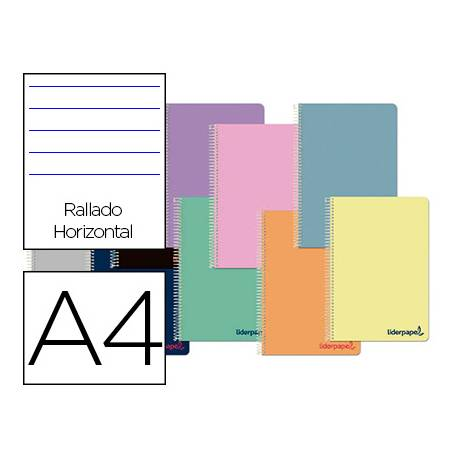 Cuaderno espiral Liderpapel Wonder Tamaño DIN A4 Tapa plastico Rayado horizontal 90 g/m2 Con margen en Colores Surtidos