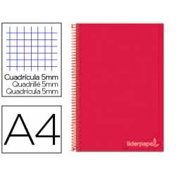 Cuaderno espiral Liderpapel Jolly Tamaño DIN A4 Tapa forrada 140H Cuadricula 5 mm 75 g/m2 con 5 bandas 4 taladros color Rojo
