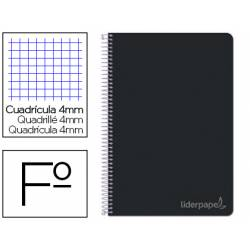 Cuaderno espiral Liderpapel Witty Tamaño folio Tapa dura Cuadricula 4 mm 75 g/m2 Con margen en color Negro