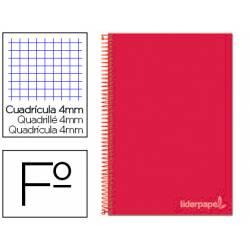 Cuaderno espiral Liderpapel Witty Tamaño folio Tapa dura Cuadricula 4 mm 75 g/m2 Con margen en color Rojo