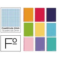 Cuaderno espiral Liderpapel Witty Tamaño folio Tapa dura Milimetrado 2 mm 75 g/m2 en Colores Surtidos