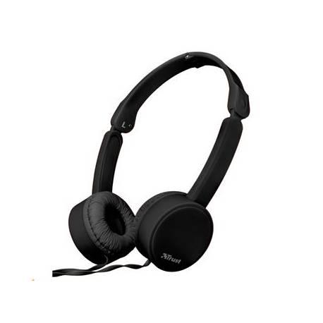 Auricular Trust Nano Plegable Microfono y Boton control color Negro