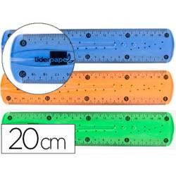 Regla de plastico flexible Liderpapel 20 cm colores surtidos