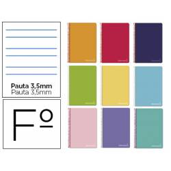 Cuaderno espiral Liderpapel Witty Tamaño folio Tapa dura Pauta 3,5 mm 75 g/m2 Con margen Colores surtidos