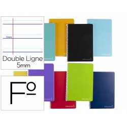 Cuaderno espiral Liderpapel Witty Tamaño folio Tapa dura Rayado Montessori 5 mm 75 g/m2 Colores surtidos