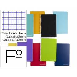 Cuaderno espiral Liderpapel Tamaño folio Tapa dura 80 hojas Cuadricula 3 mm 75 g/m2 Con margen en Colores surtidos
