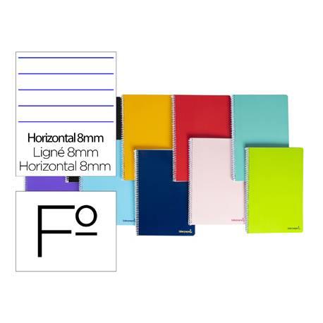 Cuaderno espiral Liderpapel folio smart Tapa blanda 80h 60gr horizontal con margen Colores surtidos (no se puede elegir)