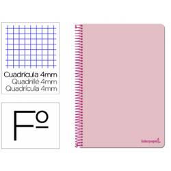 Cuaderno espiral marca Liderpapel folio smart Tapa blanda 80h 60gr cuadro 4mm con margen Color rosa
