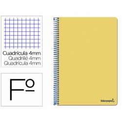 Cuaderno espiral Liderpapel folio smart Tapa blanda 80h 60gr cuadro 4mm con margen Color amarillo