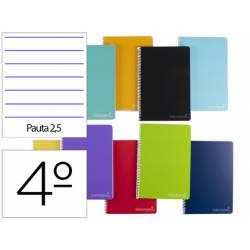 Cuaderno espiral Liderpapel Tamaño cuarto Tapa dura 75 g/m2 Pauta 2,5mm Con margen en colores surtidos (no se puede elegir)