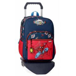 Mochila Escolar Spiderman 38x30x12 cm con carro de poliéster.