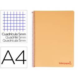 Bloc Liderpapel DIN A4 wonder cuadrícula 5mm tapa polipropileno 90gr color naranja
