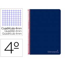 Bloc Liderpapel cuarto witty cuadrícula 5mm tapa dura 75 gr color azul