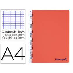 Bloc Liderpapel Din A4 wonder cuadrícula 4mm tapa polipropileno 90 gr color rojo.