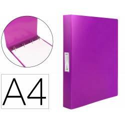 Carpeta Liderpapel 4 anillas polipropileno DIN A4 25mm color rosa