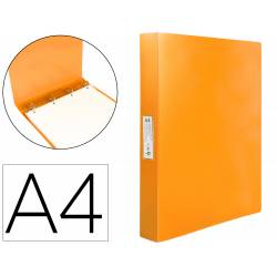 Carpeta Liderpapel 4 anillas polipropileno DIN A4 25mm color naranja