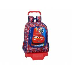 CARTERA ESCOLAR CON CARRO SAFTA CARS RACING BLOCK 320X140X420 MM