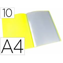 CARPETA LIDERPAPEL ESCAPARATE 10 FUNDAS POLIPROPILENO DIN A4 COLOR AMARILLO FLUOR OPACO