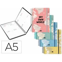 Agenda escolar liderpapel 20-21 curso din-a5 bilingue semana vista carton forrado espiral cierre con goma.