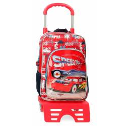 Mochila Escolar Cars Speed Trails 38cm con Carro (40323T1)