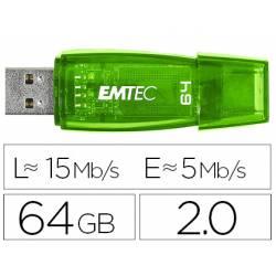 Memoria USB Emtec 64GB C 410 verde con tapa