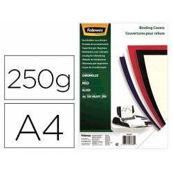 Tapa de Encuadernacion Carton Brillo Fellowes DIN A4 Color Rojo 250 micras pack 100 uds