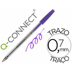 Boligrafo transparente Q-Connect Morado 0,7 mm