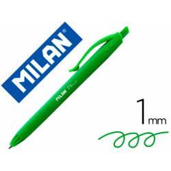 Bolígrafo retráctil milán P1 color verde 1 mm